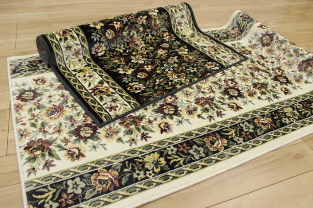 日本製高級デザイン廊下敷きカーペット/絨毯 【ティアレ】 幅80×長さ540cm