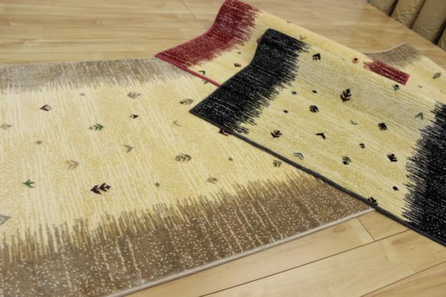 日本製高級デザイン廊下敷きカーペット/絨毯 【ギャベ】 幅80×長さ340cm