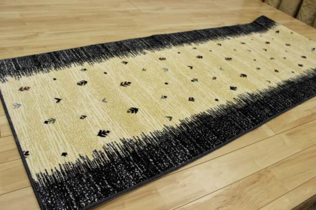 在庫処分価格!日本製高級デザイン廊下敷きカーペット/絨毯 【ギャベ】 幅80×長さ240cm
