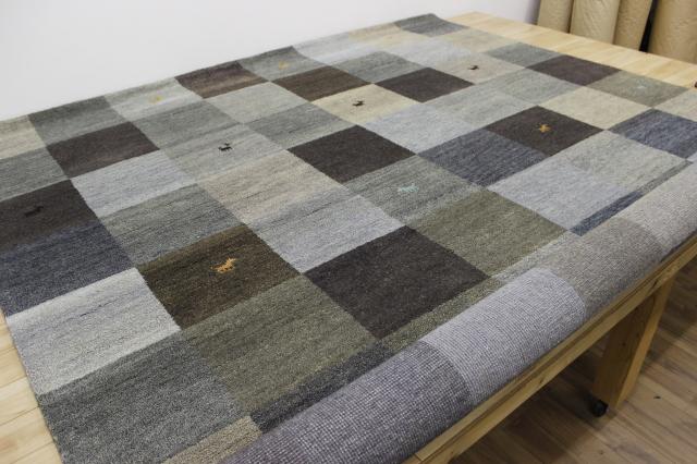 激安 6畳 ギャッベ 絨毯 インド製 ウール緞通 ギャベ ラグ マット カーペット 厚手 【品名 ギャベ手織り緞通】 約6畳 約250×300cm
