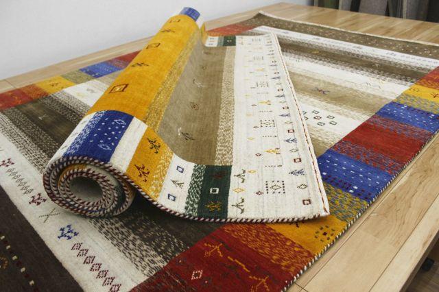 驚異的安さ!ギャッベ 絨毯 インド製 ウール緞通 ギャベ ラグ マット カーペット 厚手 【品名 ペルシャデザイン】 約3畳 約164×233cm