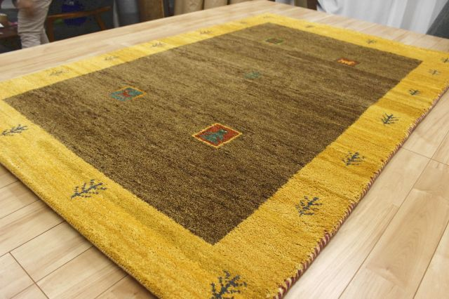 激安 ギャッベ 絨毯 インド製 ウール緞通 ギャベ ラグ マット カーペット 安い 厚手 【品名 ギャベ手織り緞通】 約1.5畳 約120×180cm
