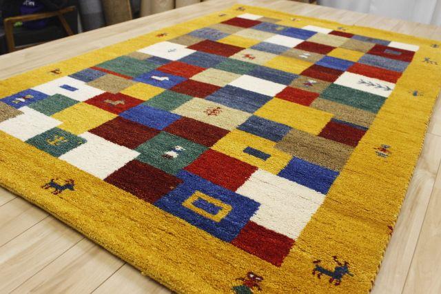 激安  ギャッベ 絨毯 インド製 ウール緞通 ギャベ ラグ マット カーペット 厚手 【品名 ギャベ緞通 Sグレード】 約1.5畳 約120×180cm