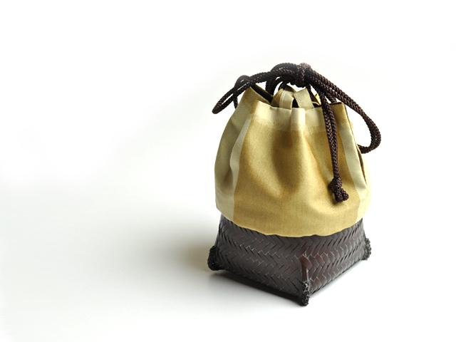 籠巾着HAKO 黄唐茶 ぐい呑み入れ 竹かご