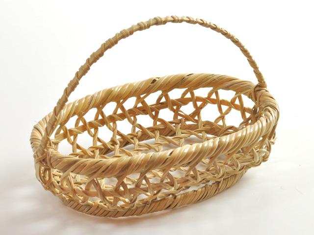 手付きかご、竹かご、楕円型、パン籠