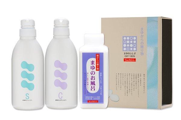 まゆのシャンプー&コンディショナー&入浴剤のセット 京都丹後のちりめんの伝統が生んだ女性に人気の土産品