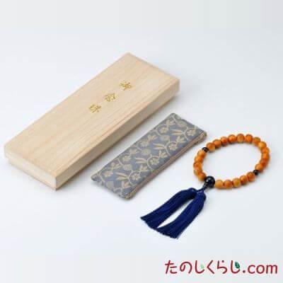 【送料無料】京念珠 屋久杉(男性用片手持ち 桐箱入り・念珠袋付き)