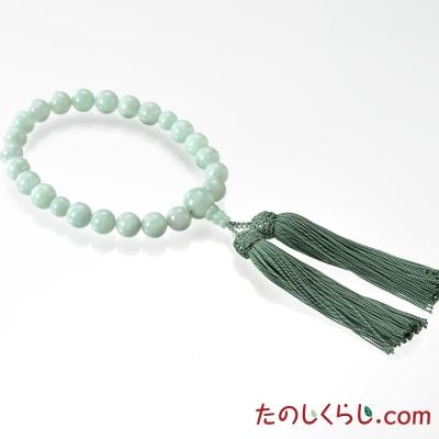 【送料無料】京念珠 ビルマ翡翠(男性用片手持ち 桐箱入り)
