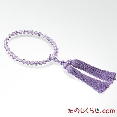 【送料無料】京念珠 切子(女性用片手持ち 桐箱入り) ローズアメジスト