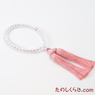 【送料無料】京念珠 水晶 桜彫り(女性用片手持ち 桐箱入り)