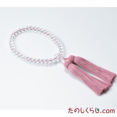 おとく京念珠 巧シリーズ水晶7mm玉(女性用片手持ち 紙箱入り)