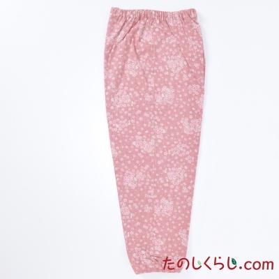 和柄むら染プリントもんぺ風イージーパンツ(さくら) 女性用 日本製 M〜L