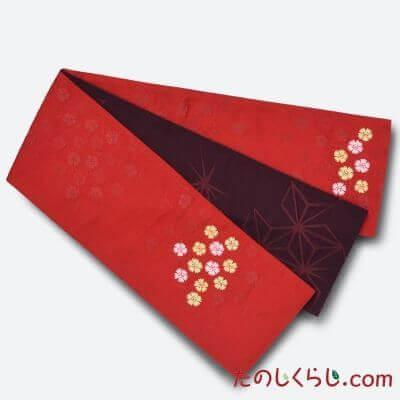 【送料無料】桐生織 リバーシブルゆかた帯 ダブルポイント なでしこ 日本製