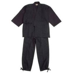 【送料無料】近江縮絣織作務衣 黒 男性用 日本製