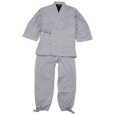 【送料無料】スエード裏地付き作務衣 グレー 男性用 日本製
