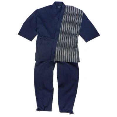 【送料無料】綿麻楊柳切り返し柄作務衣 男性用 日本製