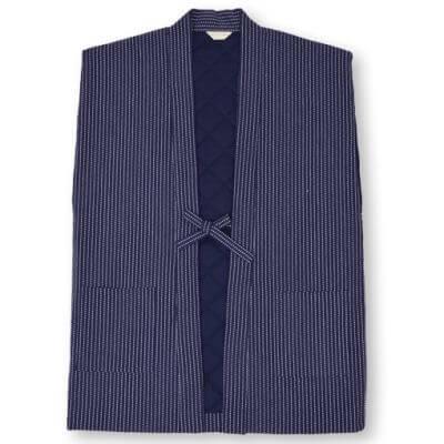 【送料無料】刺子織 袖なし綿入り半天 日本製
