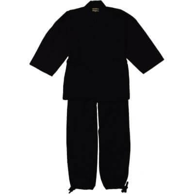 【送料無料】ウール混作務衣 黒 男性用 日本製