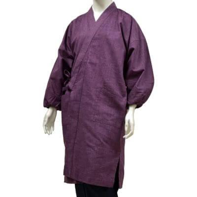 【送料無料】絣紬水屋着 紫 女性用 日本製