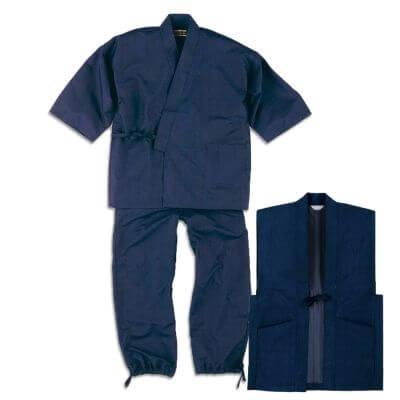 【送料無料】正絹紬作務衣(羽織付) 男性用 日本製