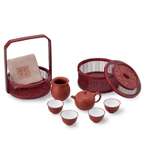 【送料無料】旅行用茶具 8件組 朱泥 品番10941