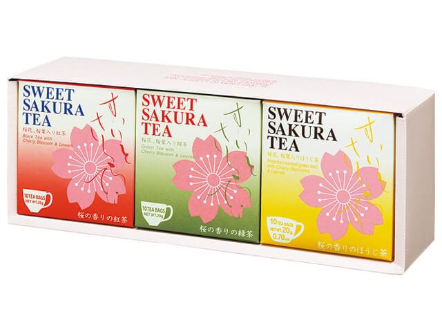 【ギフトセット】スイートサクラティー 3個セットB(紅茶、緑茶、 ほうじ茶 各1個) 品番14098