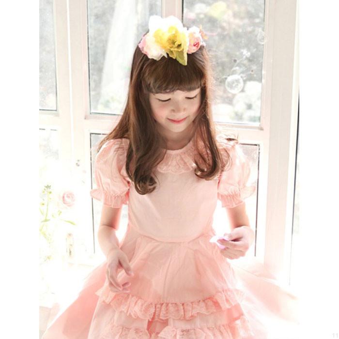 サーモンピンクのロマンチックワンピース子供服 女の子 キッズ服 激安 子供服 発表会ドレス