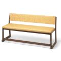 本堂用 木製 三人掛椅子 背付き