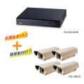 防犯カメラ専用 長時間 録画装置 〈NS-6043AHR〉・カメラ4台セット