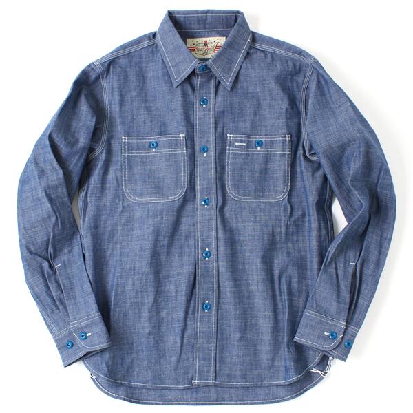 【BACKDROP ORIGINAL】(バックドロップオリジナル) サウスウェスト シャンブレーシャツ ブルーボタン