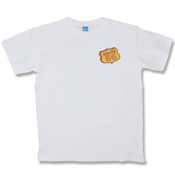 "【BACKDROP】(バックドロップ) ROUTE66 S/S TEE ""ROUTE66"" / バックドロップ別注 ルート66 Tシャツ ""ルート66"" (ホワイト)"