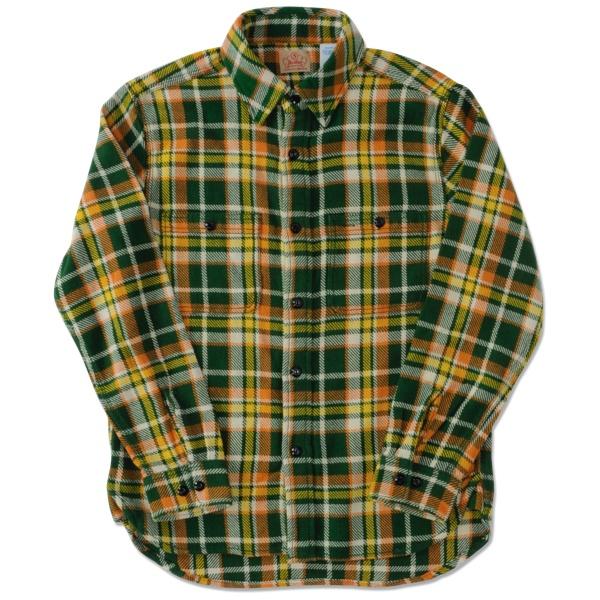 【FIVE BROTHER x BACKDROP】(バックドロップ別注) ヘビーネルシャツ (グリーン)