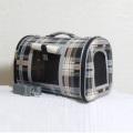 【犬・猫用キャリーバッグ】サイドメッシュウインドウ付ペットバッグ タータン柄 Mサイズ
