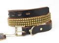 正規取扱HTC(Hollywood Trading Company)  #14S-100  4連スモールピラミッドスタッズベルト  Dark Brown Leather x Brass Studs