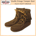 �����谷Ź MINNETONKA(�ߥͥȥ�)Double FringeTramper Boot(���֥�ե�� �ȥ��ѡ��֡���)#623 BLACK ��ǥ����� MT034