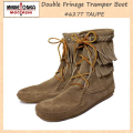 �����谷Ź MINNETONKA(�ߥͥȥ�)Double FringeTramper Boot(���֥�ե�� �ȥ��ѡ��֡���)#623 TAUPE ��ǥ����� MT035