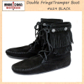 �����谷Ź MINNETONKA(�ߥͥȥ�)Double FringeTramper Boot(���֥�ե�� �ȥ��ѡ��֡���)#629 BLACK ��ǥ����� MT022