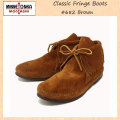 �����谷Ź MINNETONKA(�ߥͥȥ�) Classic Fringe Boots(���饷�å��ե�󥸥֡���)#682 BROWN SUEDE ��ǥ����� MT214
