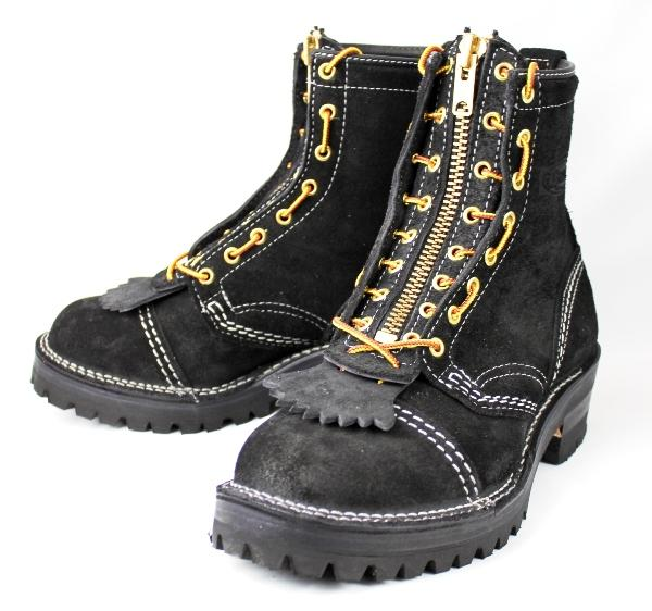 正規Wescoウエスコ Jobmaster Black Rough Out,8height,#100sole,Toe Cap,Doule Mid Sole,White Stitching, Lace in Zipper JM35