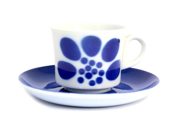 ARABIA Stencil ステンシル        フラワー/ カップ&ソーサー1(ブルー)