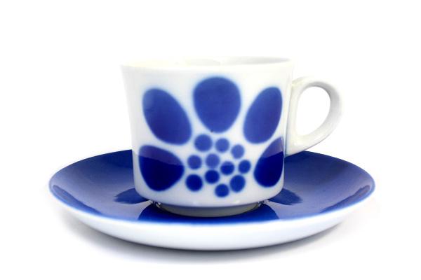 ARABIA Stencil ステンシル        フラワー/ カップ&ソーサー2(ブルー)
