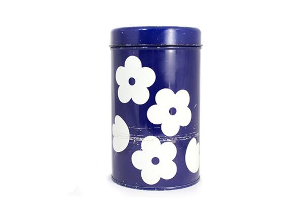 aarikka アーリッカ           花柄 缶 Mサイズ/ ブルー