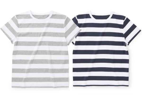 天竺ボーダーTシャツ            ホワイト/グレー、ネイビー