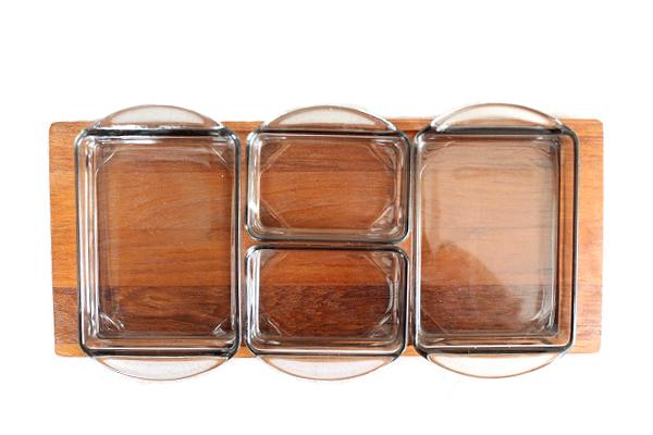 北欧ビンテージ トレイ&ガラス容器       KJENI チェニ / Q