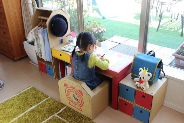 ジュニアデスクチェア&そで机(1個引き出し、2個引き出し×2、本棚)&ハンガーラックセット