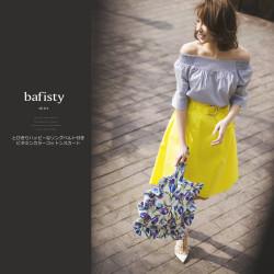 とびきりハッピーなリングベルト付きビタミンカラーコットンスカート 【bafisty バフィスティ】 2017 MIKA×tocco closet (トッコクローゼット) Collection 美香さんはイエローを着用