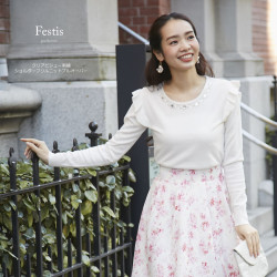 クリアビジュー刺繍ショルダーフリルニットプルオーバー 【festis フェスティス】 2017 tocco closet Collection