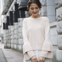ボリュームベルスリーブニットプルオーバー 【relias レリアス】 2017 tocco closet Collection