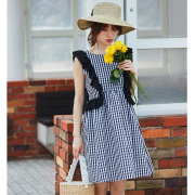 誰からも好かれる夏のお嬢さんレースONギンガムチェックワンピース【marie マリー】  泉里香さんはブラックを着用