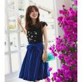 旬の色使いで今年顔☆3WAYりぼん付きビビットカラースカート  泉里香さんはブルーを着用
